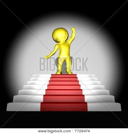 Gold human on top of red carpet - 3d image