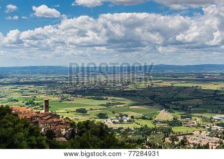 Panorama Of The City Of Cortona And Val Chianina, Tuscany - Italy