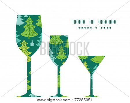 Vector holiday christmas trees three wine glasses silhouettes pattern frame