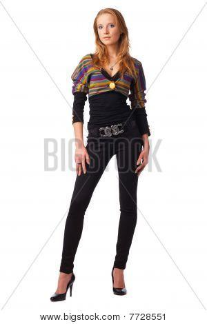 Modell in Streifen Bluse.