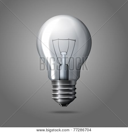 Realistic light bulb isolated on grey background.