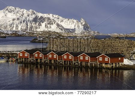Typical norwegian fishing village  on the sea during winter time