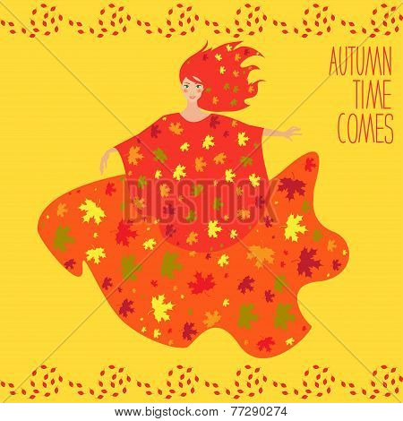 Bright Colored Card Background With Ginger Smiling Dancing Autumn