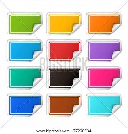 Vector realistic rectangular colorful stickers set