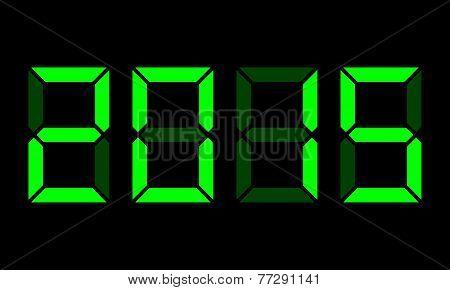 Year 2015, Digital Clock Display, Green On Black