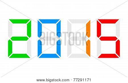 Year 2015, Digital Clock Display, Colorful