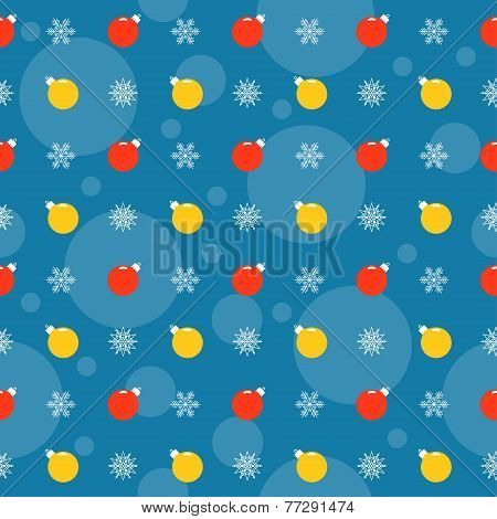Holiday Bright Colored Pattern Background With Bright Christmas Balls And Snowflakes
