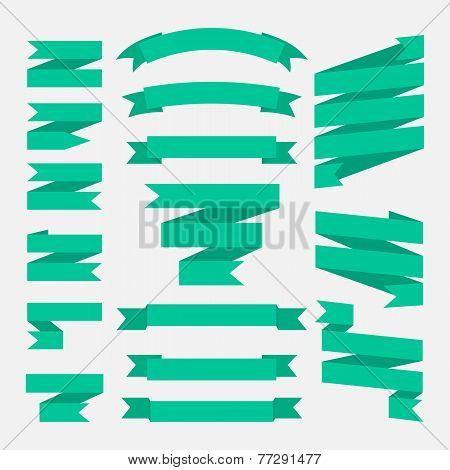 Green ribbons set in flat style isolated on a white background.
