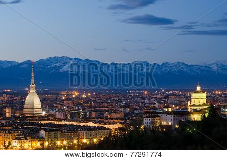 Turin (torino), Night Landscape With Alps