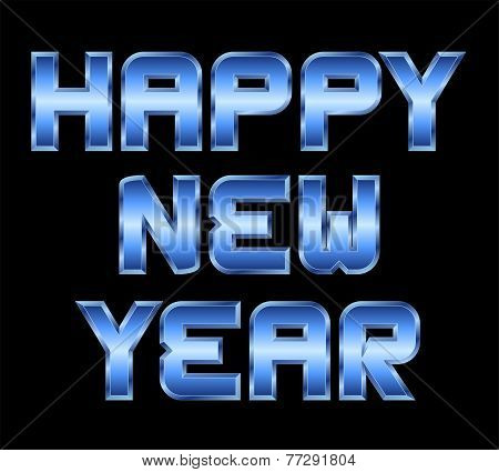 Happy New Year, Blue Metal Greeting, Black Background