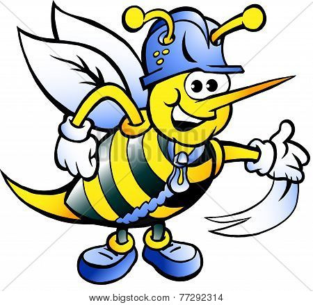 Hand-drawn Vector Illustration Of An Happy Working Bee