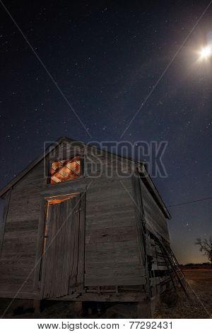 Lit shed