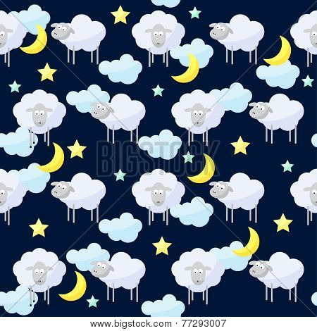 Funny Vector Pattern Background With Clouds, Stars, Moon And Cute Sheep, The Symbol Of The New Year