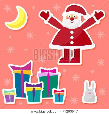 Funny Cartoon Winter Holidays Set With Cute Santa Claus,rabbit, Moon And Gifts On The Red Background