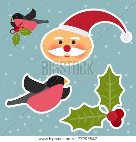 Funny Cartoon Winter Holidays Set With Cute Santa Claus, Bullfinch, Branch Of Holly And Snowflakes O