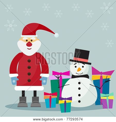 Funny Cartoon Winter Holidays Background With Santa, Gifts And Cute Snowman On The Soft Grey Backgro