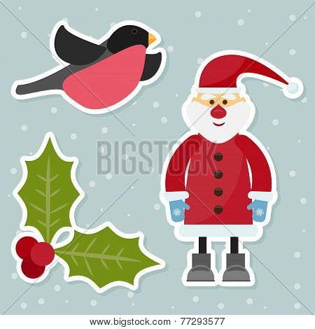 Cartoon Winter Holidays Background With Funny Santa Claus, Cute Bullfinch, Branch Of Holly And Snowf