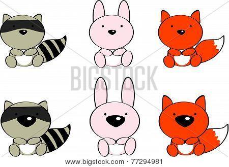 cute baby animals cartoon set7