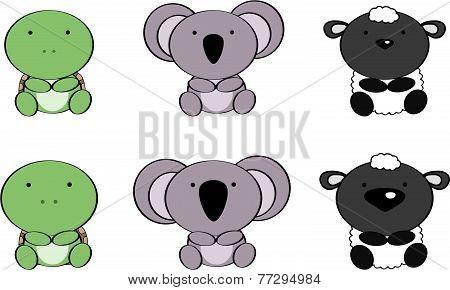 cute baby animals cartoon set6