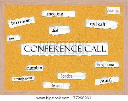 Conference Call Corkboard Word Concept