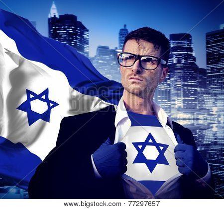 Superhero Businessman Israeli Cityscape Concept