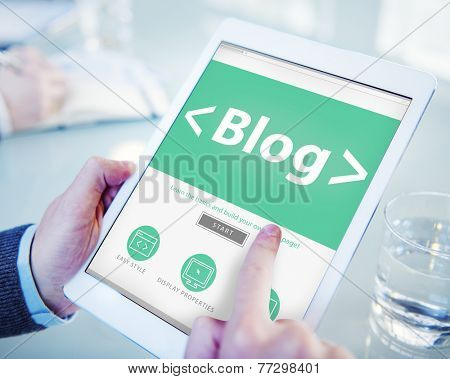 Digital Online Social Media Blog Working Concept