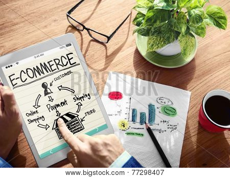 Digital Online Marketing E-Commerce Office Working Concept