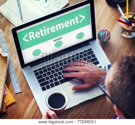 Digital Online Retirement Pension Office Working Concept