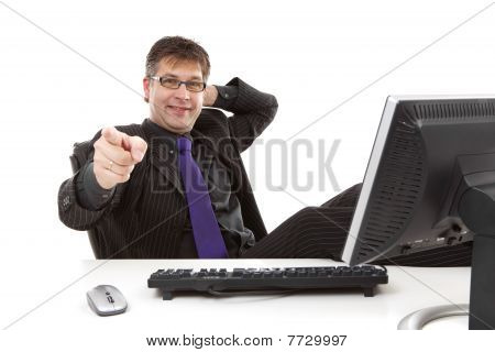 Businessman Is Pointing At You