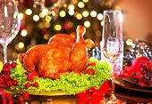 pic of turkey dinner  - Christmas table setting with turkey - JPG
