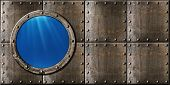 image of ironclad  - submarine porthole steam punk metal background - JPG