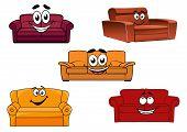 image of settee  - Colorful cartoon sofas - JPG