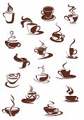 image of hot-chocolate  - Set of hot coffee beverage doodle sketches showing steaming cups and mugs of hot coffee or chocolate - JPG