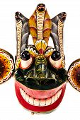 image of king cobra  - a traditional Sri Lanka Dance mask called Gara Raksha Mask representing the King of the Demons isolated over white - JPG
