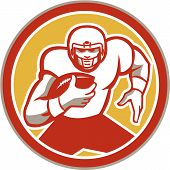 stock photo of scat  - Illustration of an american football gridiron player running back with ball facing front set inside circle done in retro style - JPG