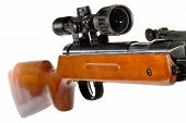 stock photo of butt  - a air rifle with a telescopic sight and a wooden butt