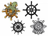 stock photo of octopus  - Vintage ships steering wheels with octopus and anchors - JPG