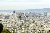 stock photo of chola  - Aerial view of downtown San Francisco city skyline California United States of America - JPG