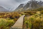 image of hookers  - Hooker Lake in Mount Cook National Park New Zealand - JPG