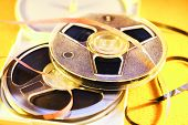 picture of magnetic tape  - Tape magnetic tape on a yellow background - JPG