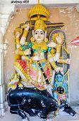 foto of durga  - Ancient stone curved sculptures of Hindu godess Durga - JPG