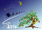 picture of sleigh ride  - Scene with decorated fir Christmas and Santa - JPG