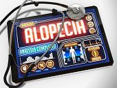 foto of alopecia  - Medical Tablet with the Diagnosis of Alopecia on the Display and a Black Stethoscope on White Background - JPG