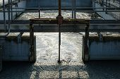stock photo of sedimentation  - waste water treatment with biological mud pool - JPG