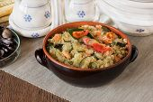 foto of tabouleh  - Cous Cous whit shrmps and vegetables on homemade table - JPG