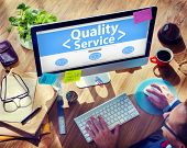 stock photo of first class  - Digital Online Quality Service Office Working Concept - JPG