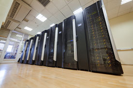 pic of supercomputer  - modern hi tech data servers in network center - JPG