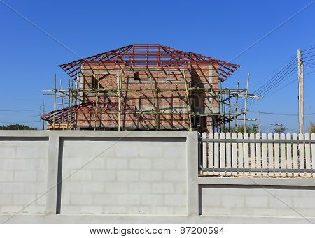 Building And Construction House, Fence Made Concrete Block
