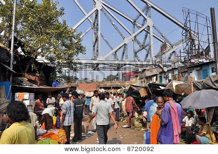 Flower Market Under The Howrah Bridge, Kolkata, India.