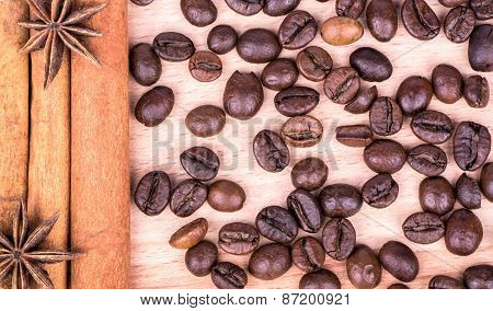 Cinnamon Sticks With Coffee Beans